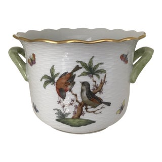 1970s Cottage Herend Rothschild Bird Butterfly Cachepot For Sale