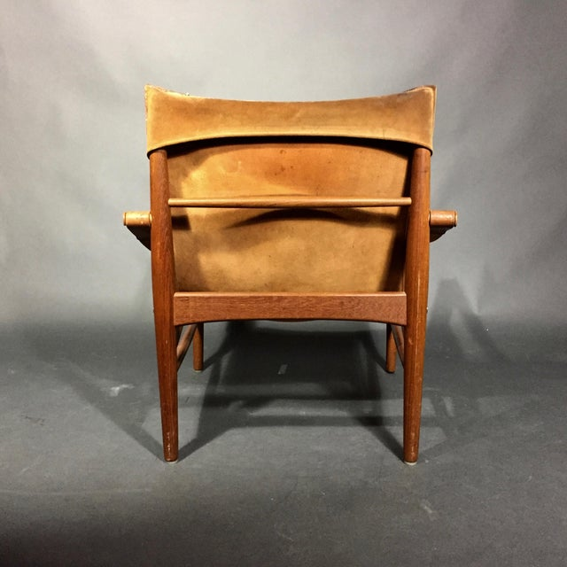 "Animal Skin Hans Olsen ""Antilop"" Suede and Oak Safari Chair For Sale - Image 7 of 11"