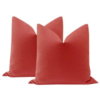 "22"" Rhubarb Velvet Pillows - a Pair For Sale"