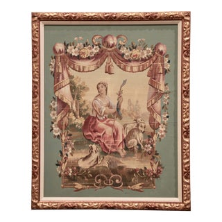 19th Century French Aubusson Tapestry Gouache on Paper in Carved Gilt Frame For Sale