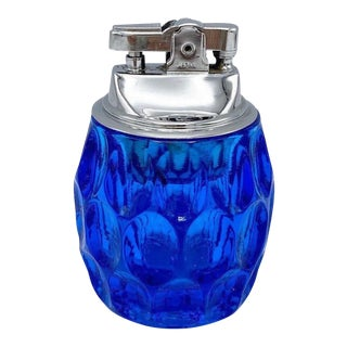 Mid Century Cobalt Blue Dimpled Glass Table Lighter For Sale