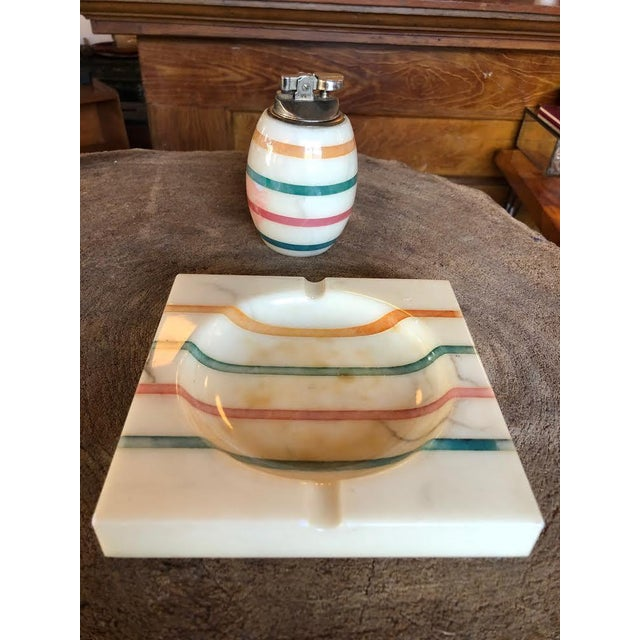1960s Italian Alabaster Ashtray and Lighter Set For Sale In Seattle - Image 6 of 13