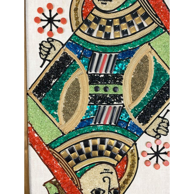 Red 1970s Gravel Art Panels King + Queen, Circa 1970s - a Pair For Sale - Image 8 of 11