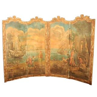 French Neoclassical Painted Canvas Four-Panel Screen Harbor Scene, 19th Century For Sale