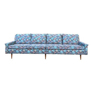 Mid-Century Modern Floral Upholstered Sofa Couch For Sale