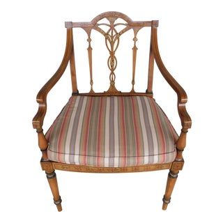 Vintage Regency Style Adams Paint Decorated Accent Chair For Sale