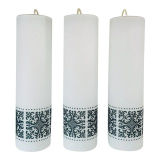 1960s Opaline Glass Pendant Lamps by Glashütte Limburg, Germany - Set of 3 For Sale
