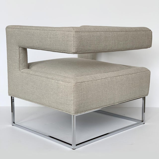 Milo Baughman Open Back Lounge Chairs - a Pair For Sale - Image 9 of 13