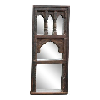 Antique Arched Window Frame Mirror For Sale