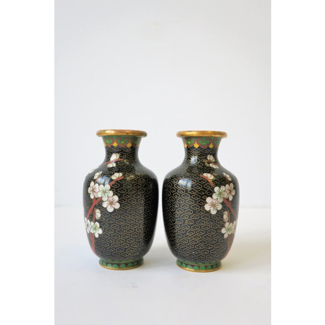 Black White and Ox Blood Cloisonne and Brass Vases For Sale - Image 12 of 13
