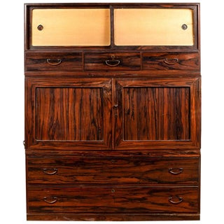 19th Century Japanese Mulberry Wood Kimono Cabinet For Sale