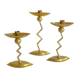 80s Brass Modern Style Candlesticks Set of Three For Sale