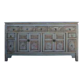 Chinese Distressed Gray Floral Motif Sideboard Console Table Cabinet For Sale