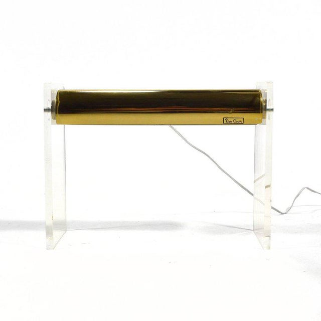 Mid-Century Modern Pierre Cardin Lucite and Brass Desk Lamp For Sale - Image 3 of 8