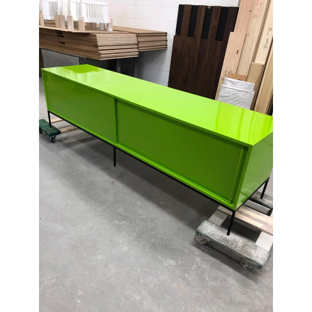 Customizable Re: 379 Grass Green Lacquered Credenza on Brass base For Sale - Image 11 of 12