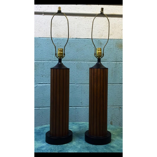 Vintage Slatted Walnut Table Lamps - a Pair - Image 2 of 6