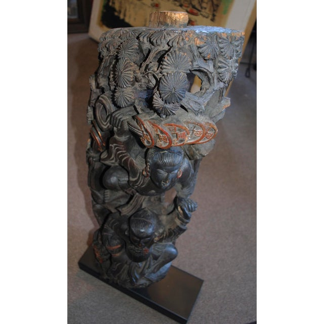 Antique Chinese Carved Wood Guardian Sculpture For Sale - Image 9 of 11