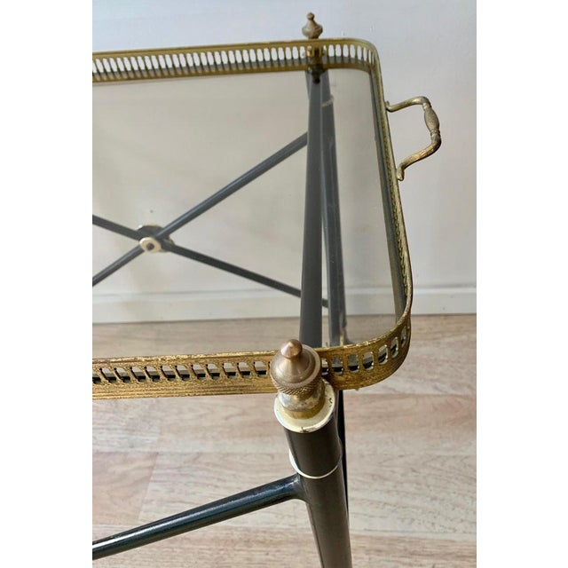 Metal Italian Glass Tray Table With Brass Lion Detailing For Sale - Image 7 of 10