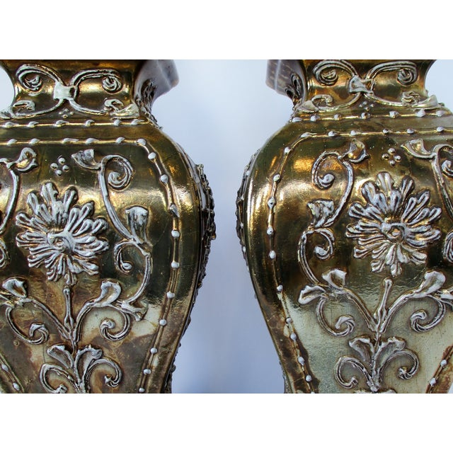 Gold Ginger Jar Lamps, a Pair For Sale In Los Angeles - Image 6 of 9