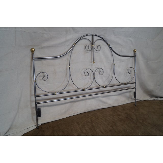 Offered is a quality Charleston Forge iron king sized headboard. AGE/COUNTRY OF ORIGIN: Approx 25 years, America...