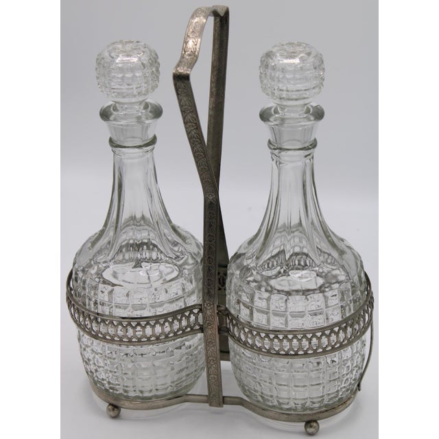 English Antique English Crystal Cruet Two Bottle Decanter Set For Sale - Image 3 of 10
