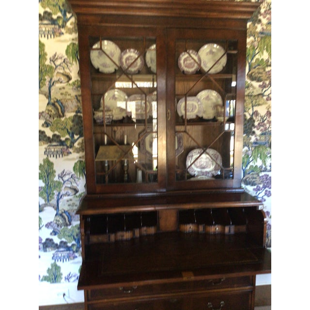 English Custom Made English Breakfront Secretary in Chinese Chippendale Style For Sale - Image 3 of 11