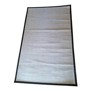 Contemporary Wool & Black Leather Rug - 5' x 8'