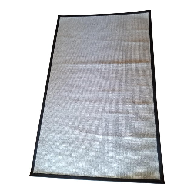 Contemporary Wool & Black Leather Rug - 5' x 8' For Sale