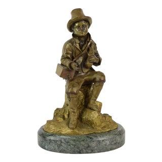 Antique Victorian Era Bronze Sculpture Beggar Boy in Tattered Clothes For Sale