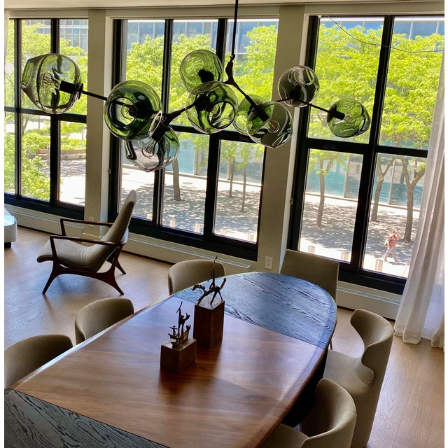 """Basically brand new, authentic Lindsey Adelman 9-globe Branching Bubble chandelier vintage brass finish and grey 9"""" globes..."""