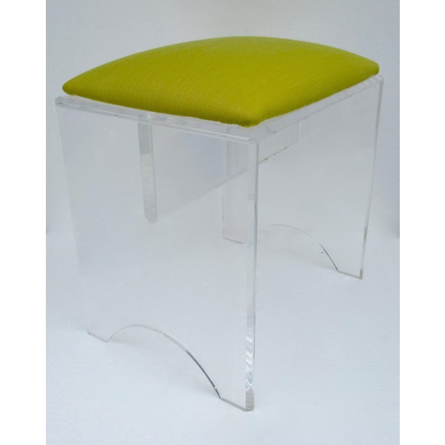 Textile Vintage Mid-Century Lucite Bench With Sunbrella Indoor/Outdoor Textile For Sale - Image 7 of 13