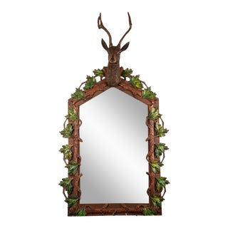 1990a Contemporary Resin Stag Head Wall Mirror