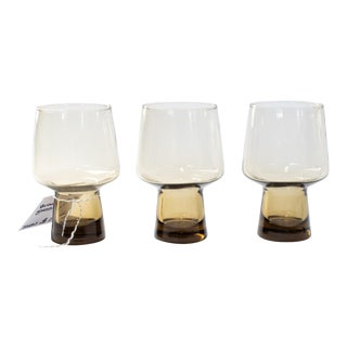 Vintage Mid-Century Brown Smoke Glass Tumblers - Set of 3 For Sale