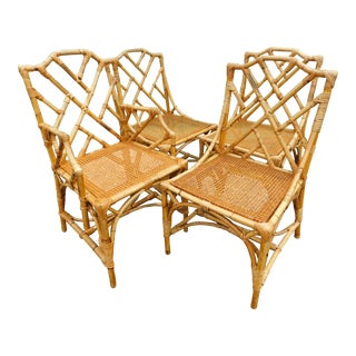 Italian Chippendale Rattan Chairs- Set of 4 For Sale