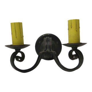 Antique 2 Arm Colonial Iron Sconce For Sale