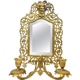 Bradley & Hubbard Co. Brass Beveled Mirror With Sconces For Sale
