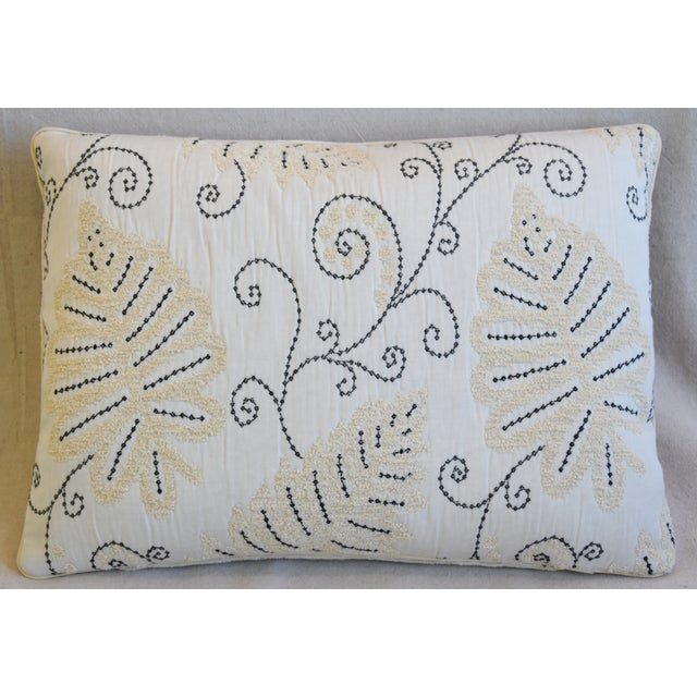 """Custom-tailored pillow in Italian Scalamandre woven embroidered fabric called """"Fern Wood"""" depicting a beautiful..."""