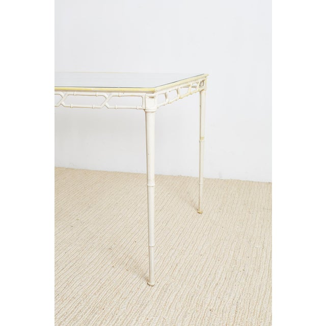 Brown Jordan Calcutta Faux Bamboo Garden Table For Sale - Image 11 of 13