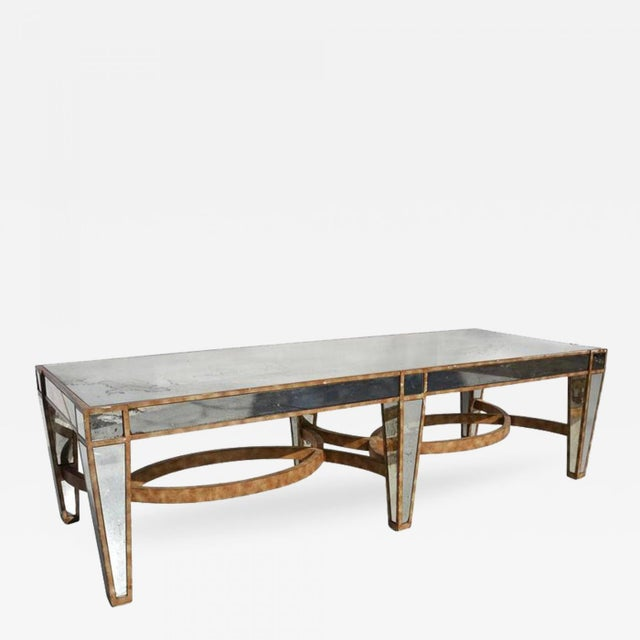 Hollywood Regency Coffee Table in Antiqued Mirror For Sale In Los Angeles - Image 6 of 6