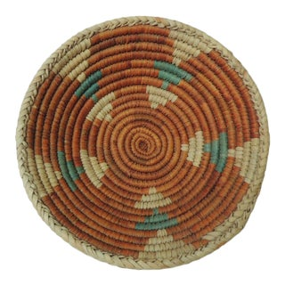 1990s Vintage Small Orange & Green Round Tribal Decorative Basket For Sale