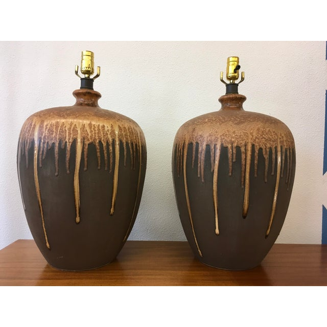Mid-Century Modern Glazed Ceramic Lamps - A Pair For Sale - Image 4 of 6