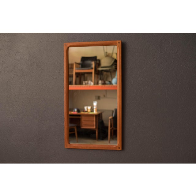 Wood Vintage Danish Teak Hanging Wall Mirror by Aksel Kjersgaard For Sale - Image 7 of 9