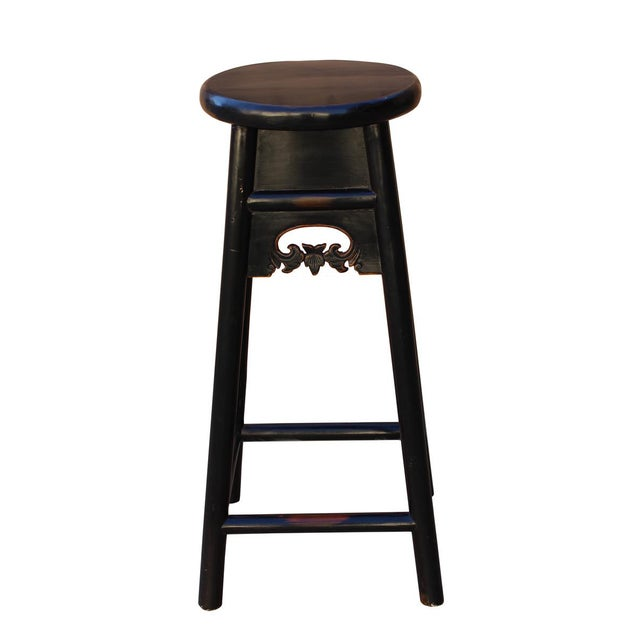 "Quality handmade Chinese traditional design tall bar stool, this high stool is made of solid elm wood Dimensions: 15"" x..."