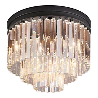 ModernRestoration Hardware Odeon Clear Glass Fringe 3-Tier Flush Mount For Sale