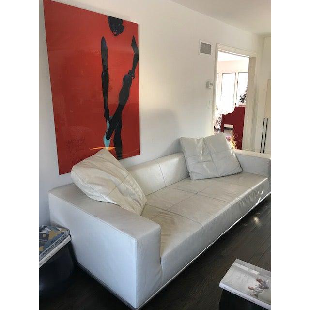 B & B Italia George White Leather Sofa   Chairish