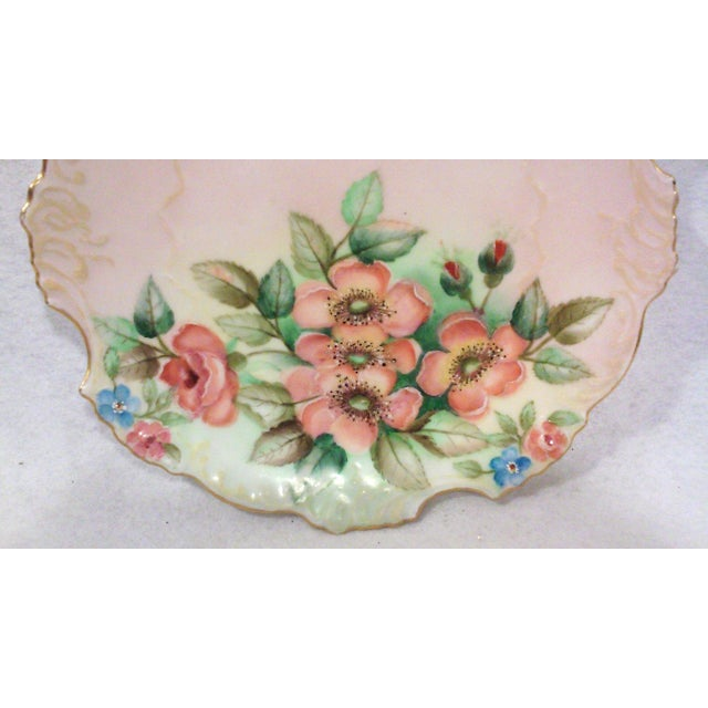 Cottage Selesia Germany Hand Painted Porcelain Floral Cabinet Plate For Sale - Image 3 of 4