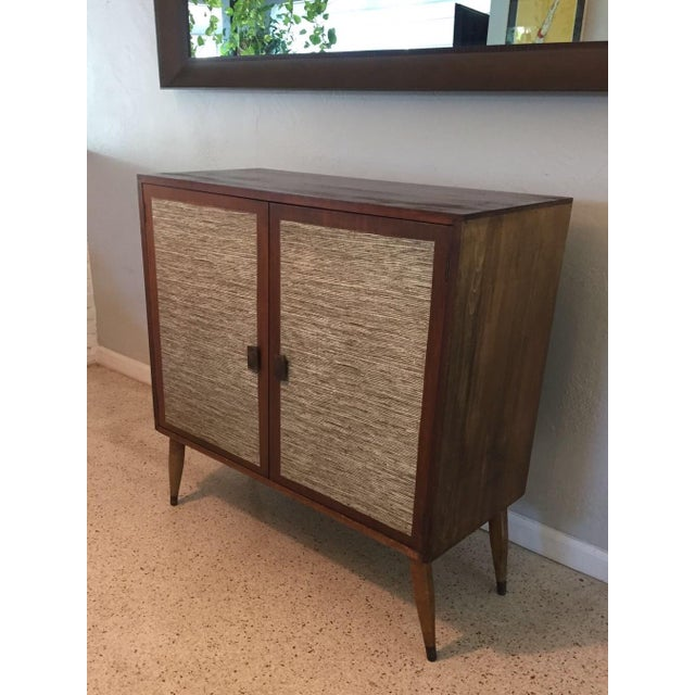 Mid-Century Cabinet with Woven Doors - Image 7 of 9
