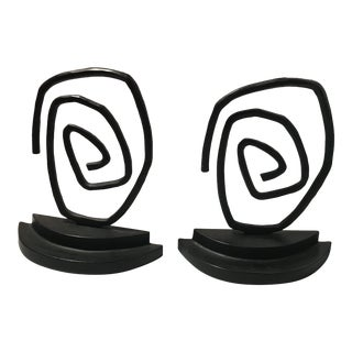 1970s Vintage Cast Iron Abstract Bookends - A Pair For Sale