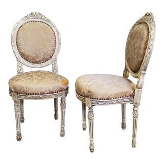 Late 19th Century Vintage French Louis XVI Style Side Chairs- A Pair For Sale