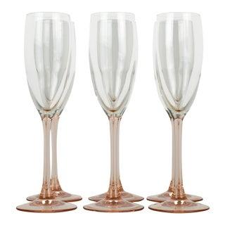 Vintage French Pink Blush Champagne Flute Glasses - Set of 7